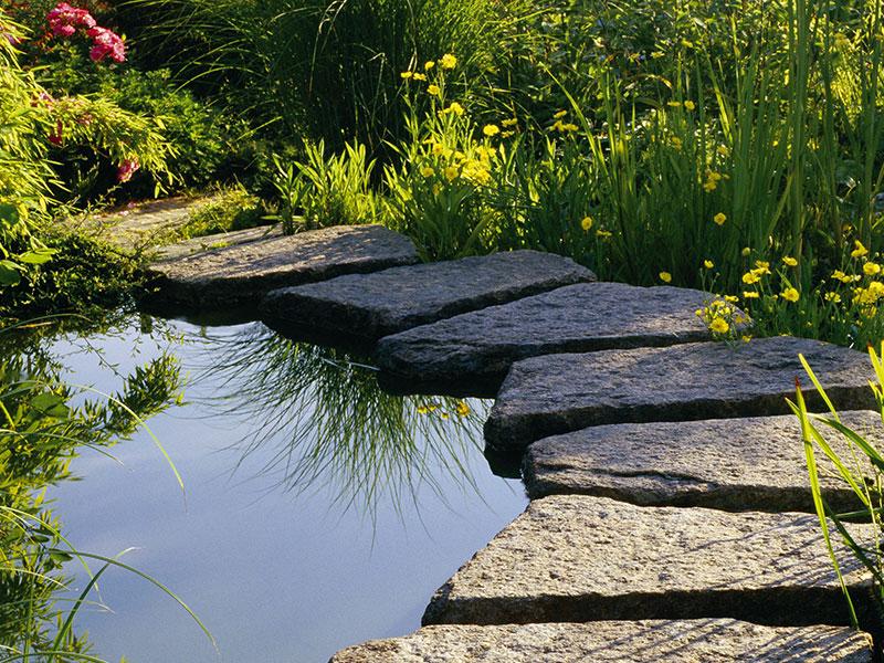 Teich Naturstein im Garten Mainz Wörrstadt Nieder-Olm